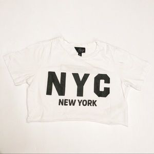 TOPSHOP NYC State of Mind White Crop Top Size 2